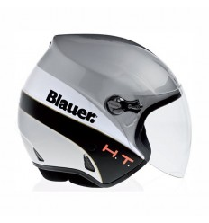 Casco Blauer Boston grafica CR argento, bianca e nera