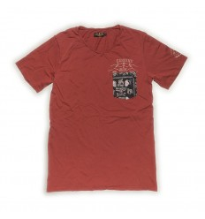 T-Shirt Rude Riders da uomo Spitfire Red con stampa e collo a V
