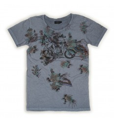 T-Shirt Rude Riders da uomo Mood Indigo con stampa e collo a V