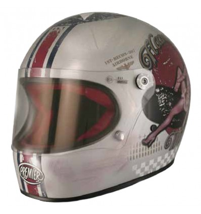 Casco Premier Trophy grafica Pin Up Old Style Silver