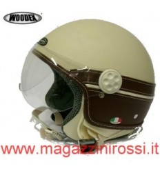 Casco Woodex Speed beige e pelle marrone