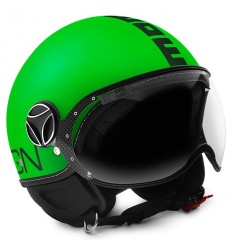 Casco Momo Design Fighter Fluo verde opaco e nero