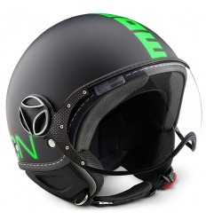 Casco Momo Design Fighter Fluo nero opaco e verde