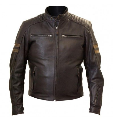 Giacca da moto in pelle LEM Ceket Legend marrone scura