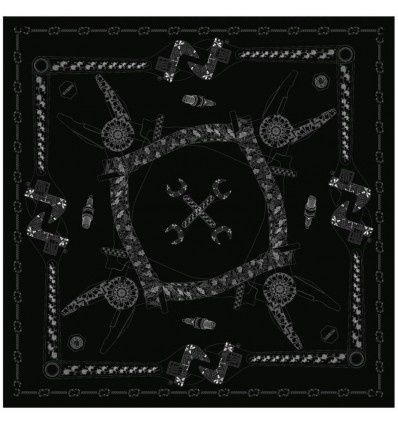 Foulard Helstons stampato grafica Tools